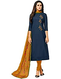Akhilam Womens Chanderi Cotton Dress Material