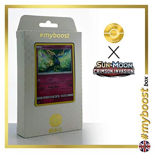 Xerneas 73/111 Holo - #myboost X Sun & Moon 4 Crimson Invasion - Box de 10 Cartas Pokémon Inglesas