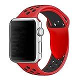 YOUKESI Apple Watch Armband 42mm, Soft Silikon Ersatz Uhrenarmbänder für iWatch Serie 3 Serie 2 Serie 1 Sport (42mm Rot schwarz)