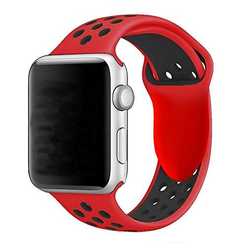 YOUKESI Compatible Apple Watch Armband 42mm, Soft Silikon Ersatz Uhrenarmbänder für iWatch Serie 3 Serie 2 Serie 1 Sport (42mm Rot schwarz)