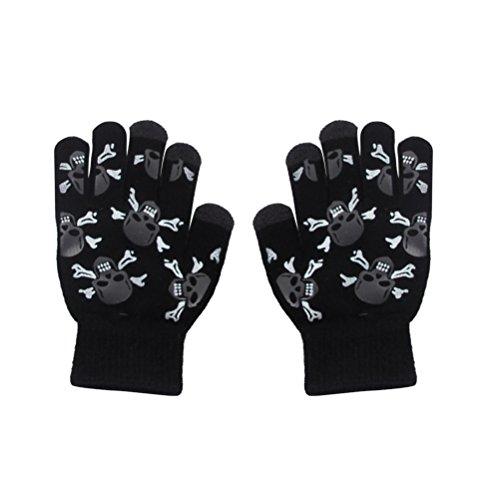 BESTOYARD 1 Paar Sensitive Touchscreen Handschuhe Schädel Köpfe Winter Winddicht Handschuhe für Smartphone Reiten Radfahren -