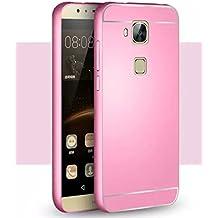 Prevoa ® 丨Huawei G8 Funda - Aluminum Bumper Funda PC Back Cover Case para Huawei G8 Android Smartphone - Rosa