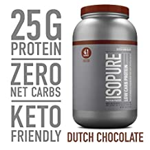 Isopure Low Carb Protein Powder, 100% Whey Protein Isolate, Gluten Free / Lactose Free, Keto Friendly, Flavor: Dutch Chocolate, 3 Pounds