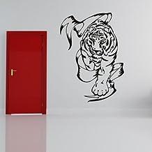 Tigre y bandera Cazador salvaje Animales tribales vinilos decorativos Inicio decoración art pegatinas disponible en 5 tamaños y 25 colores X-Grande Blanco
