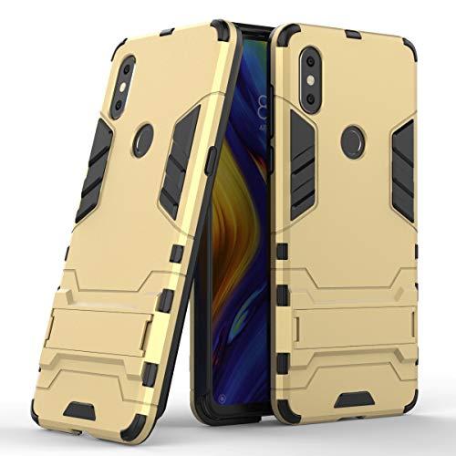 WONGYAN Moda Carcasa Protectora híbrida de Doble Capa Resistente a Prueba de Golpes y antirayaduras TPU + PC para Xiaomi Mi Mix 3, con Soporte (Color : Oro)