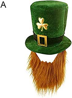 P12cheng Sombrero de San Patricio, Divertido trébol de imitación Larga Barba Estufa Sombrero San Patricio