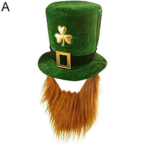 AchidistviQ St. Patrick's Festival, lustiges Kleeblatt, Kunstblättchen, Herdröhrchen, Hut, St. Patrick Day Kostüm-Dekoration, Vliesstoff, A -
