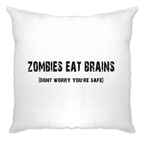Halloween Kissenhülle Zombies essen Gehirne du bist sicher White One Size