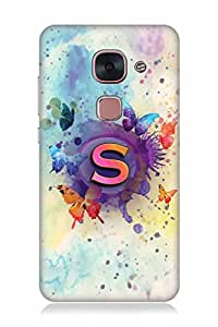 FABCASE Premium alphabet S 3d letter abstract water colour painting art beautiful butter flies multicolour paint stroke feel good theme Printed Hard Plastic Back Case Cover for LeEco Le 2