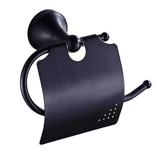 BOATX Retro Schwarz Toilettenpapierhalter mit Deckel WC-Papierrollenhalter Klopapierhalter Wandrollenhalter Rollenhalter Toilettenpapierrollenhalter aus Messing