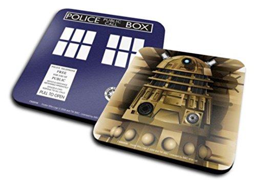Set Di 2 Sottobicchieri: Doctor Who - Dalek + Tardis (10x10 cm)