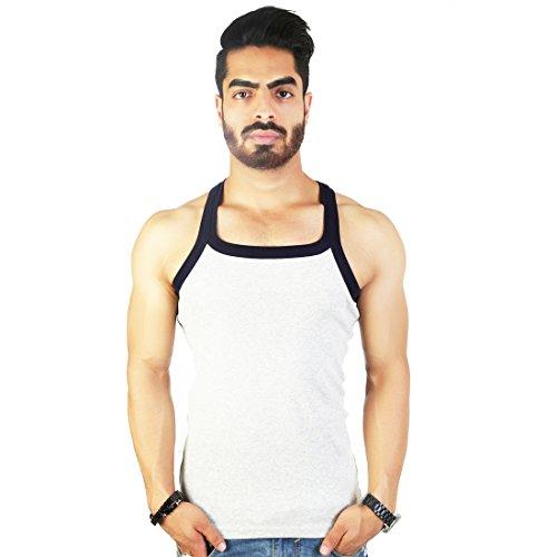 Zimfit Men's Cotton Gym Vest Pack Of 3 - (Navy_Green_Grey) (XXL)