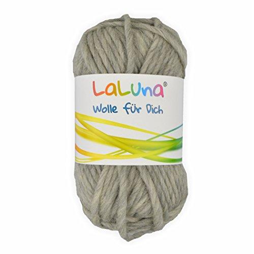 Filz Wolle grau 100% Schurwolle 50g - 50 Meter, Wolle zum Stricken und Filzen Marke: LaLuna®
