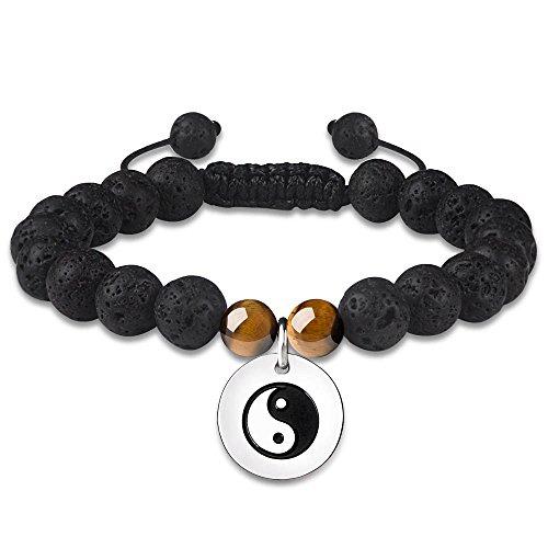 CheersLife Heilung Energie Yin-Yang Charme 8mm Lava Stein Armband Damen Herren - Ätherisches Öl Diffusor Schmuck - Naturstein Geschenke