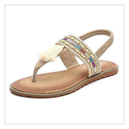 Comfortable Flat Sandals Women 2018 Summer Hot Fashion Bohemian Printed Tassel Elastic Band Beach Sandals Flats Plus Size 35-41 Beige 35