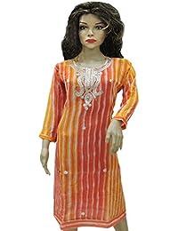 Ratnatraya Leheriya Cotton Silk Orange Kurti For Women | Party Wear Designer Straight Kurtis For Girls And Gift - B077VHTQDD