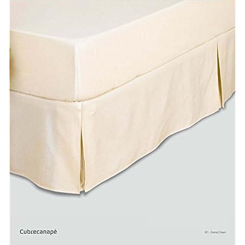 ES-TELA - Cubrecanapé HILO TINTADO RÚSTICO color Crema - Cama de 150 cm. - Tipo colcha - 50% algodón / 50% poliéster - Medidas: 150 x 190/200 + 33 cm.