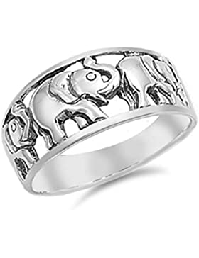 Ring aus Sterlingsilber - Elefant
