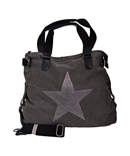 angesagte Tasche Canvas, Umhängetasche,Shopper mit Stern aus Straßsteinen, grau 5931