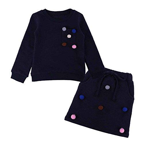Winter Girls Clothes Set Long Sleeve Sweatershirt + Skirt(Dark Blue/(3-4T)