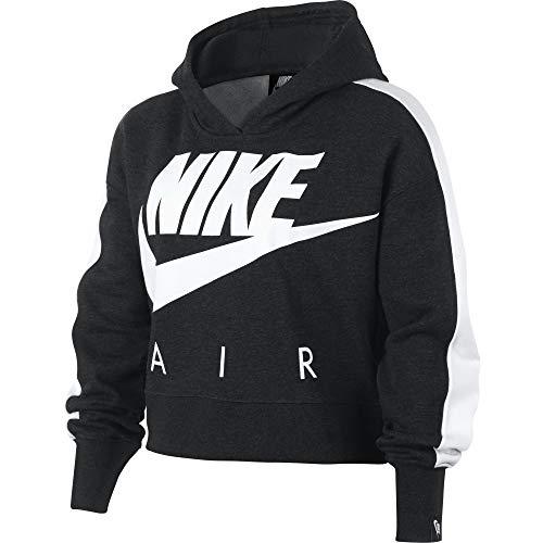 Nike Mädchen G NSW Crop PE AIR Sweatshirt, Black Heather/White, S