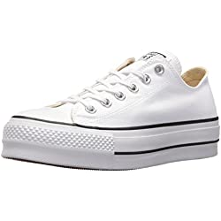 1861508bb7 Converse Chuck Taylor CTAS Lift Ox Canvas, Zapatillas para Mujer, Blanco  Black/White