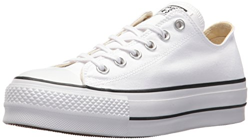 Converse Chuck Taylor CTAS Lift Ox Canvas, Zapatillas para Mujer, Blanco Black/White 102, 37.5 EU