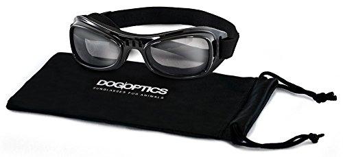 Dogoptics Biker Brille Sonnenbrille für Hunde Gestell schwarz/Gläser smoke 05Größe S (Jack-russell-ohren)