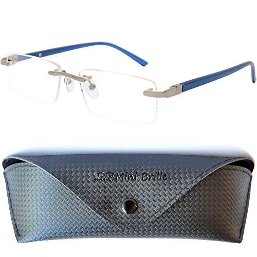 Metall Lesebrille randlos mit rechteckigen Gläsern - mit GRATIS Brillenetui, Edelstahl Rahmen (Blau), Lesehilfe Herren und Damen +1.5 Dioptrien