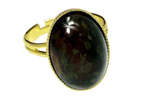 Rings 24K Vergoldete Klassischer Universal Einstellbare Größe Oval 18mm x 13mm Travertin Black Brown Tortoise Tschechische Glas-Stein Handmade BohemStyl