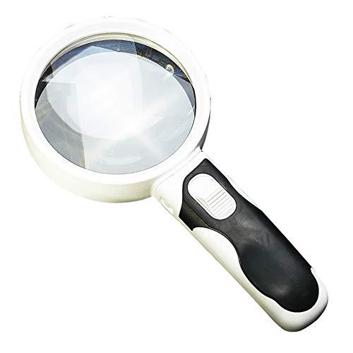 YONG FEI Handvergrößerungsglas, optische Band-LED-Licht, das 100mm antike bereite Kartenzeitungs-Vergrößerungsglas 20 Mal hohe Auflösung liest Lupe