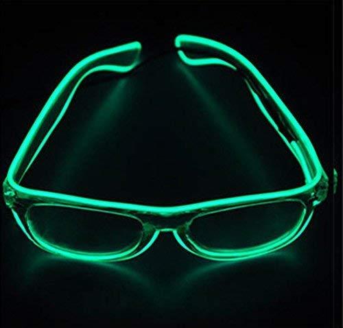 Dewel LED-Brille,Leuchtbrille Party Club LED Leuchten Brillen Partybrille Eyeglasses Leuchtende und Blinkende Brill (Grün)