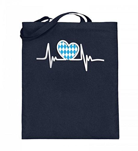 Hochwertiger Jutebeutel (mit langen Henkeln) - Herzschlag Oktoberfest (ohne Schrift) Deep Blue