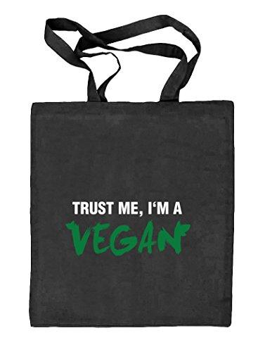 Shirtstreet24, Trust Me, I'm A Vegan, Natur Stoffbeutel Jute Tasche (ONE SIZE) schwarz natur