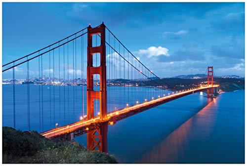 Wallario Poster - Golden Gate Bridge in San Francisco USA in Premiumqualität, Größe: 61 x 91,5 cm (Maxiposter) (California Weiß-plakat Schwarz Und)