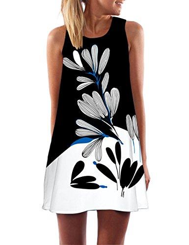 GREMMI Damen Sommer Ärmellos Kleider Chiffon Sommerkleid Strandkleid Lose Minikleid Partykleider Top Casual Beach Kleid