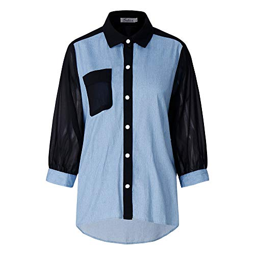 Hellomiko Frauen Große Größe Shirt Revers Top Chiffon Splice Denim Plus Size Shirt Tops - Chiffon Denim