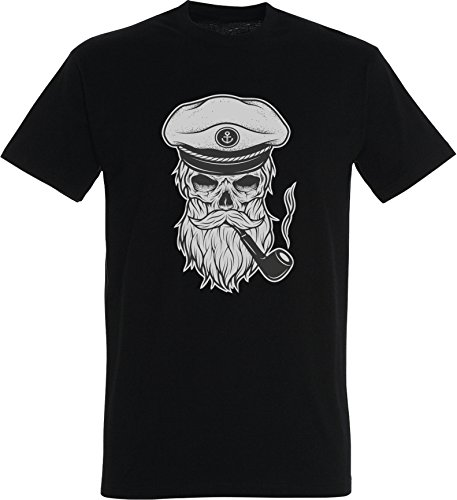 Iron Cobra Herren T-Shirt Totenkopf Kapitän Captain Skull Bard Hipster Seemann Regular Fit Schwarz XL