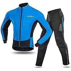 Lixada Chaqueta de Ciclismo Invierno Hombres+Pantalones de Ciclismo Térmicos de Lana Invierno Ropa Deportiva para Ciclismo