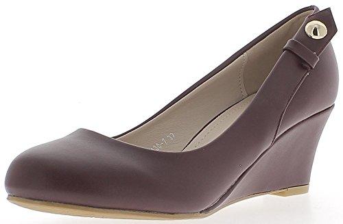 ChaussMoi Chaussures Femme Compensées Bordeaux Bouts Ronds à Talon DE 6 cm