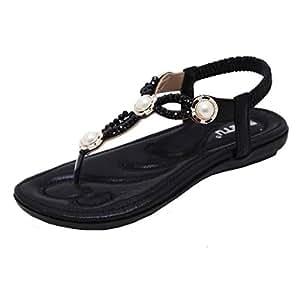 katliu Damen Sandalen Zehentrenner Sommer Strand Flach Böhmen Sandaletten Clip Toe Strass Perlen Schuhe, Black 40