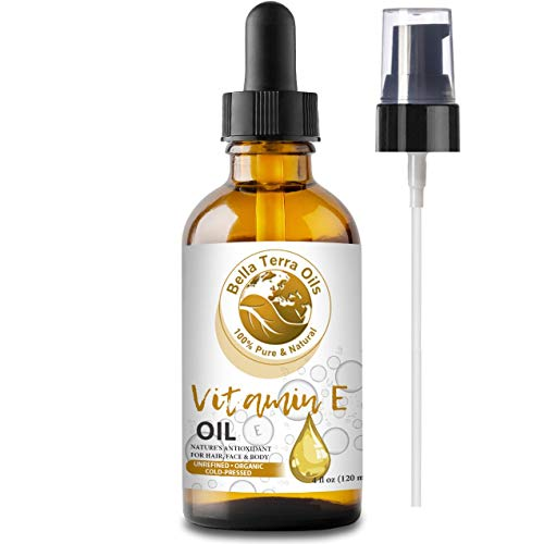 NEW Vitamin E Oil. 4oz. Cold-pressed. Unrefined. Organic. 100% Pure. D-alpha Tocopherol. 75,000 IU. Hexane-free. Rejuvenates Skin. Natural Antioxidant. For Hair, Skin, Nails, Stretch Marks, Scars