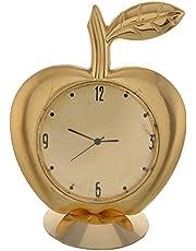 Purpledip Small Clock for Car Dashboard/ Office Table/ Kids Room Shaped like Golden Apple (10539)