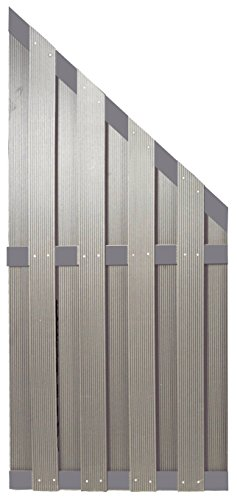 WPC Sichtschutzzaun Malmö 90×180/90 cm, silbergrau mit Aluminium Streben -EXTRA STABIL-