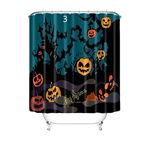 (Daesar 3D Duschvorhang Antischimmel Halloween Kürbis Vintage Duschvorhang aus Polyester-Stoff 150x180 cm)