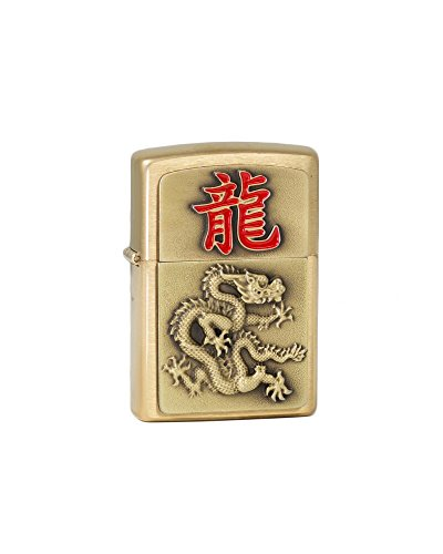 Zippo 2.004.802 Year of The Dragon 2024, Brass Cepillado, mechero, 5.5 x 3,50 x 1,5 cm