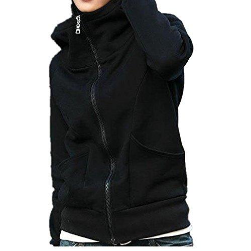 Culater® Lady cappotto incappucciato Felpa Giacca Maglia Encase Finger Tops (Nero)