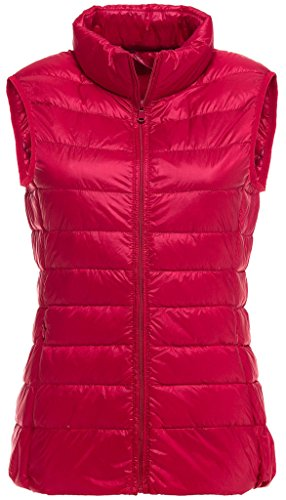 Sawadikaa Damen Gefüttert Ultra Leicht Verpackbar Kissen Puffer Daunen Jacke Weste Bodywarmer Rot X-Large (Nylon-daunen-jacke)
