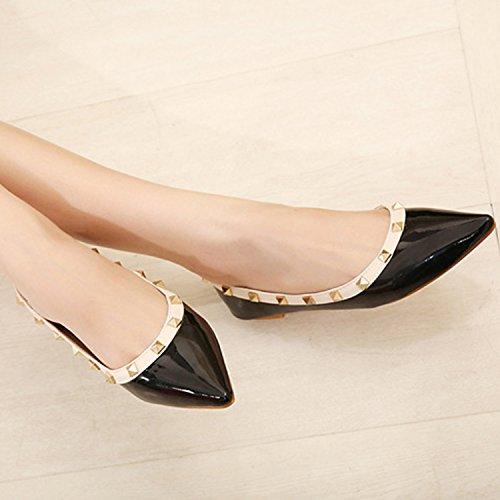 Azbro Women's Pointed Toe Slip-on Rivet Flat Shoes White