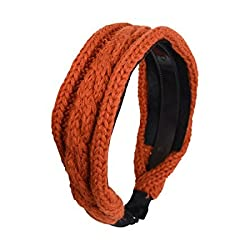 Rust Cable Knit Covered Hair Band
